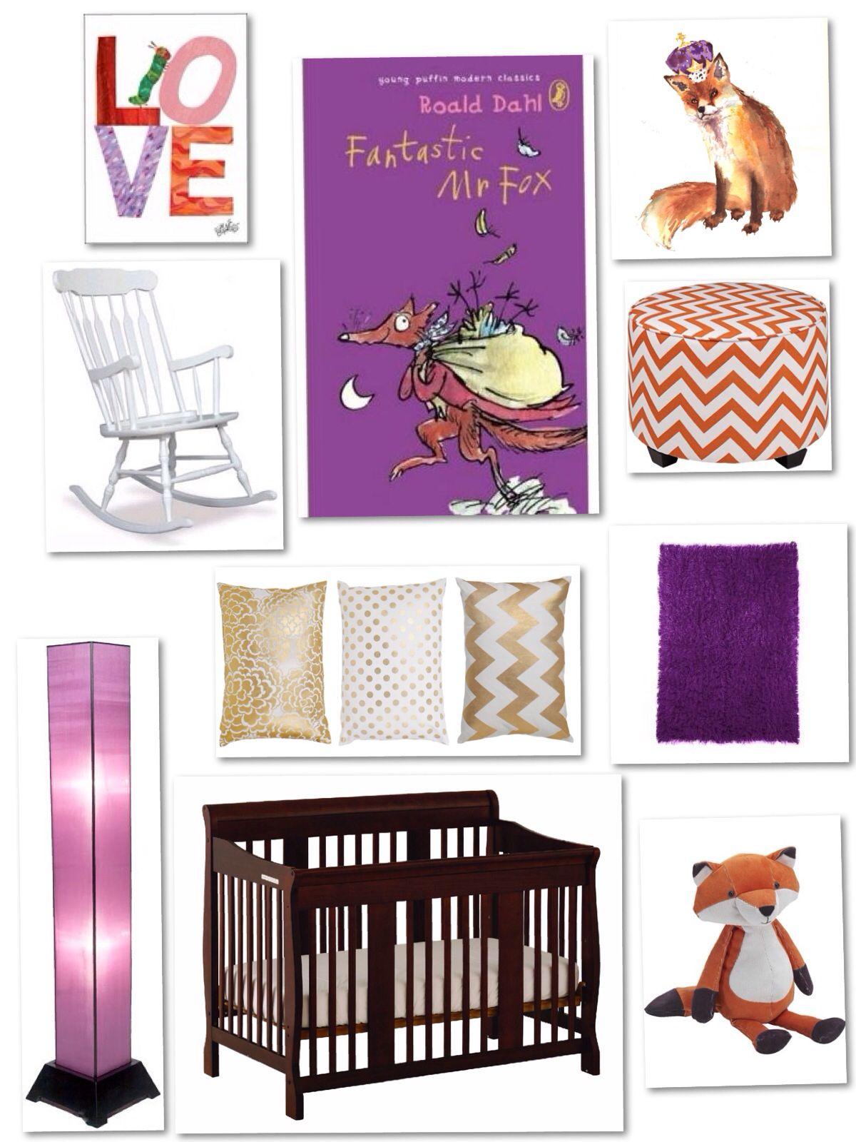 Purple Orange And Gold Fantastic Mr Fox Nursery Gold Nursery Fox Nursery Nursery