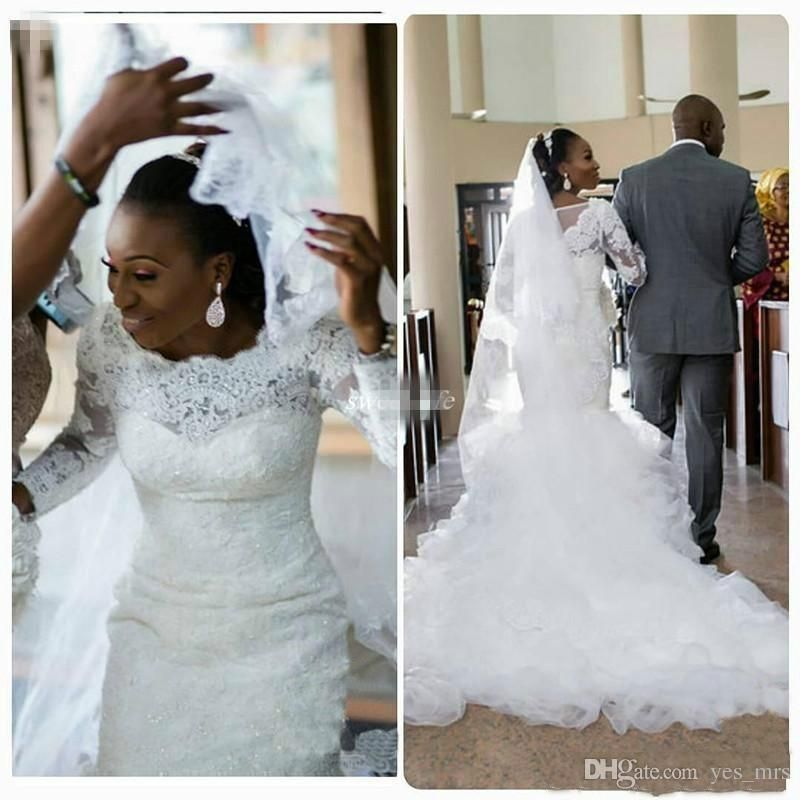 ac441afbb341 African Nigerian Mermaid Wedding Dresses 2017 Long Sleeves Lace Appliques  Beaded Plus Size Court Train Organza Ruffles Tiered Bridal Gowns Mermaid  Wedding ...