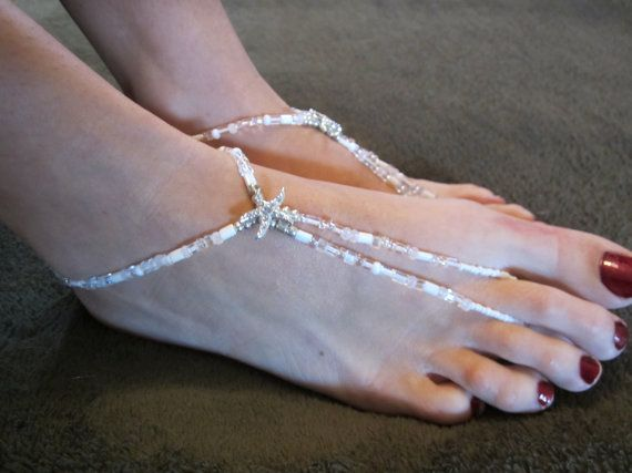 Starfish charm beach wedding foot jewelry by FancyFeetOnEtsy 2200