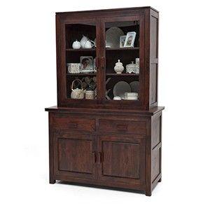 2piece Murano Crockery Cabinet Mahogany Finish Furniture
