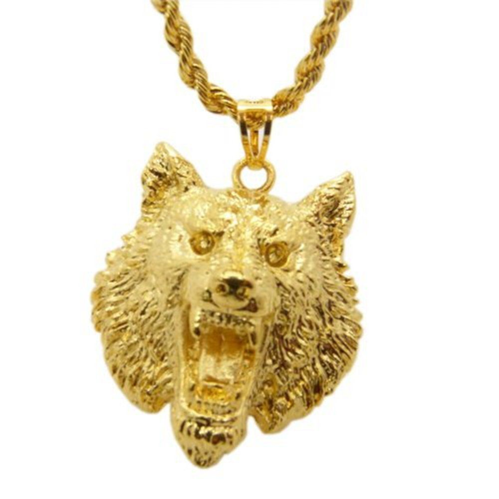 Bundle offer 18k gold plated amp white gold plated necklace 2 ring - Skyjewelry Wolf Design Solid 24k Yellow Gold Plated Mens Pendant Necklace With Rope Chain Wolf