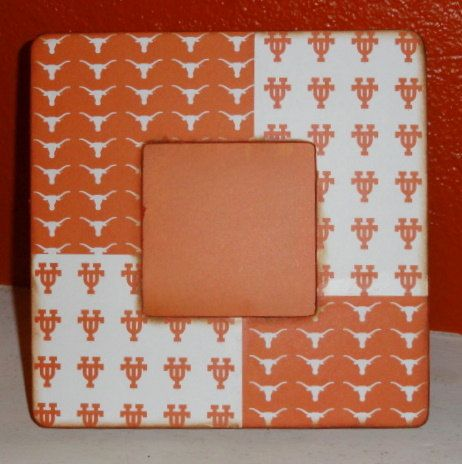 Texas Longhorns Wood Picture Frame; Could make this for Aaron :)