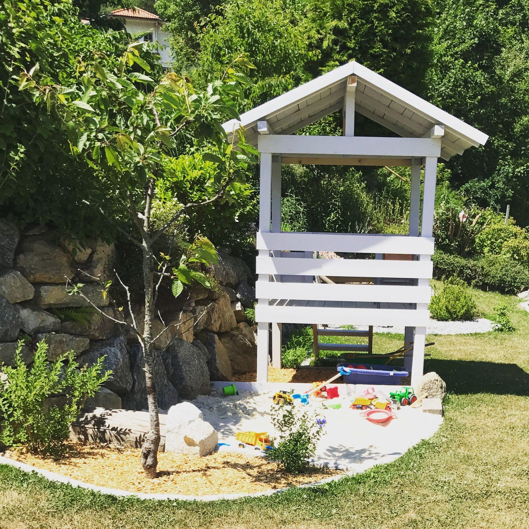 Kinder Gartenhauschen Mit Sandspielplatz Garten Kinder Gartenhaus Garten Pflanzen