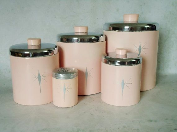Vintage Pink Tin Kitchen Canister Set    Pink Atomic Stars Kitchen Canister  Set