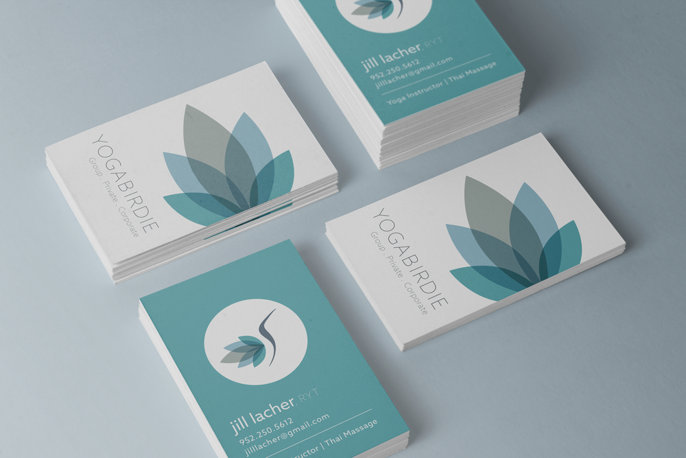 Logo And Business Card Design For Yoga Birdie Individual And Group Yoga Classes Business Card Design Card Design Stationary Design