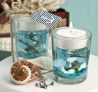 These Nautical Themed Gel Candles will help capture the essence of the ocean at your nautical themed event.