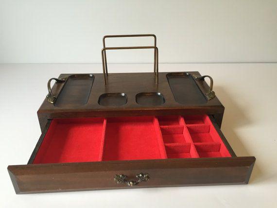 Vintage Wood Valet Mens Jewelry Tray Dresser Organizer Mens