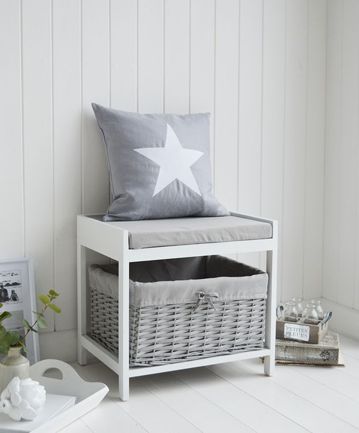 Plymouth White Grey Small Storage Seat With Cushion Basket