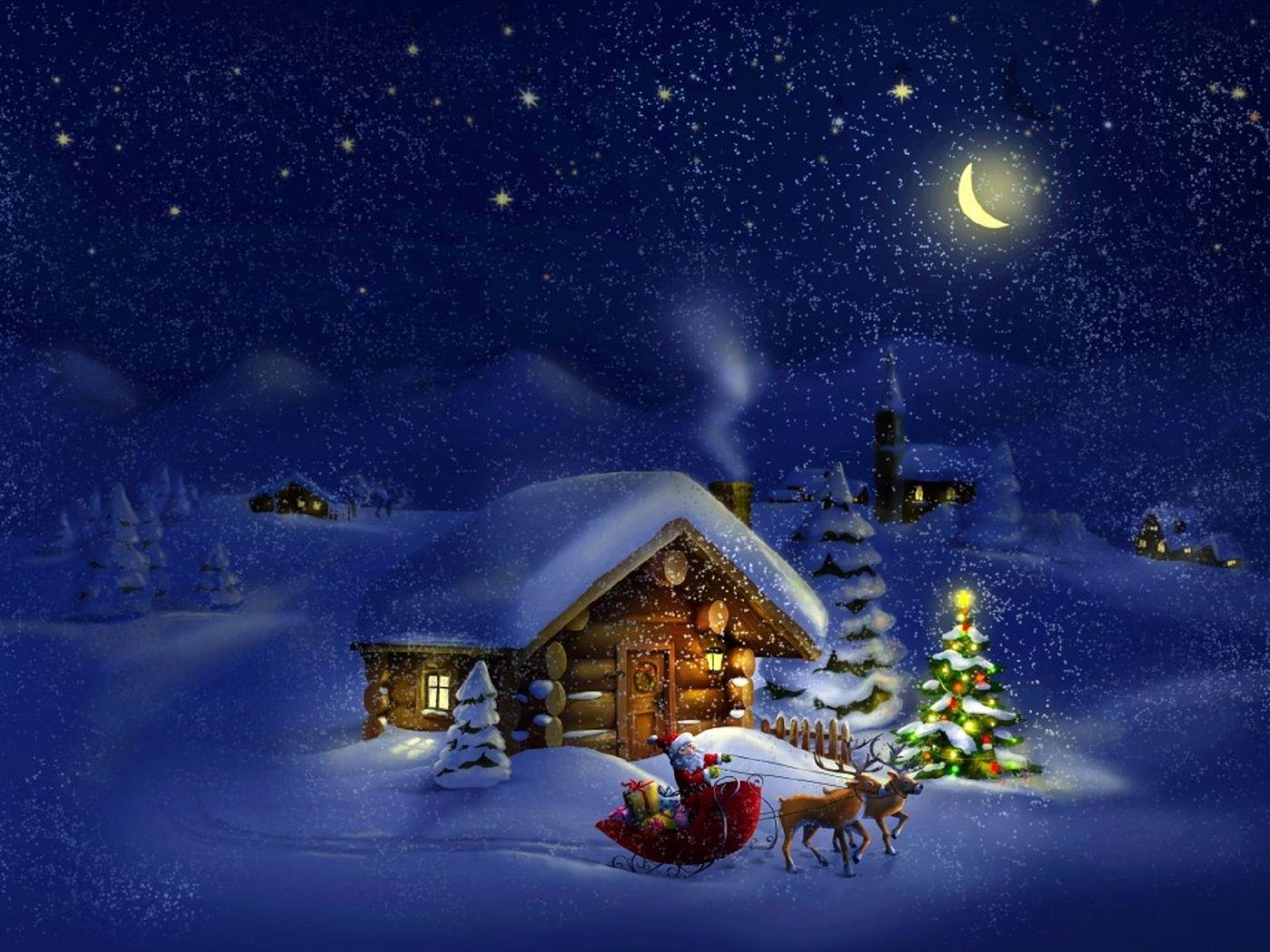 новый год, дед мороз, олени, домики, зима, снег, елки ...
