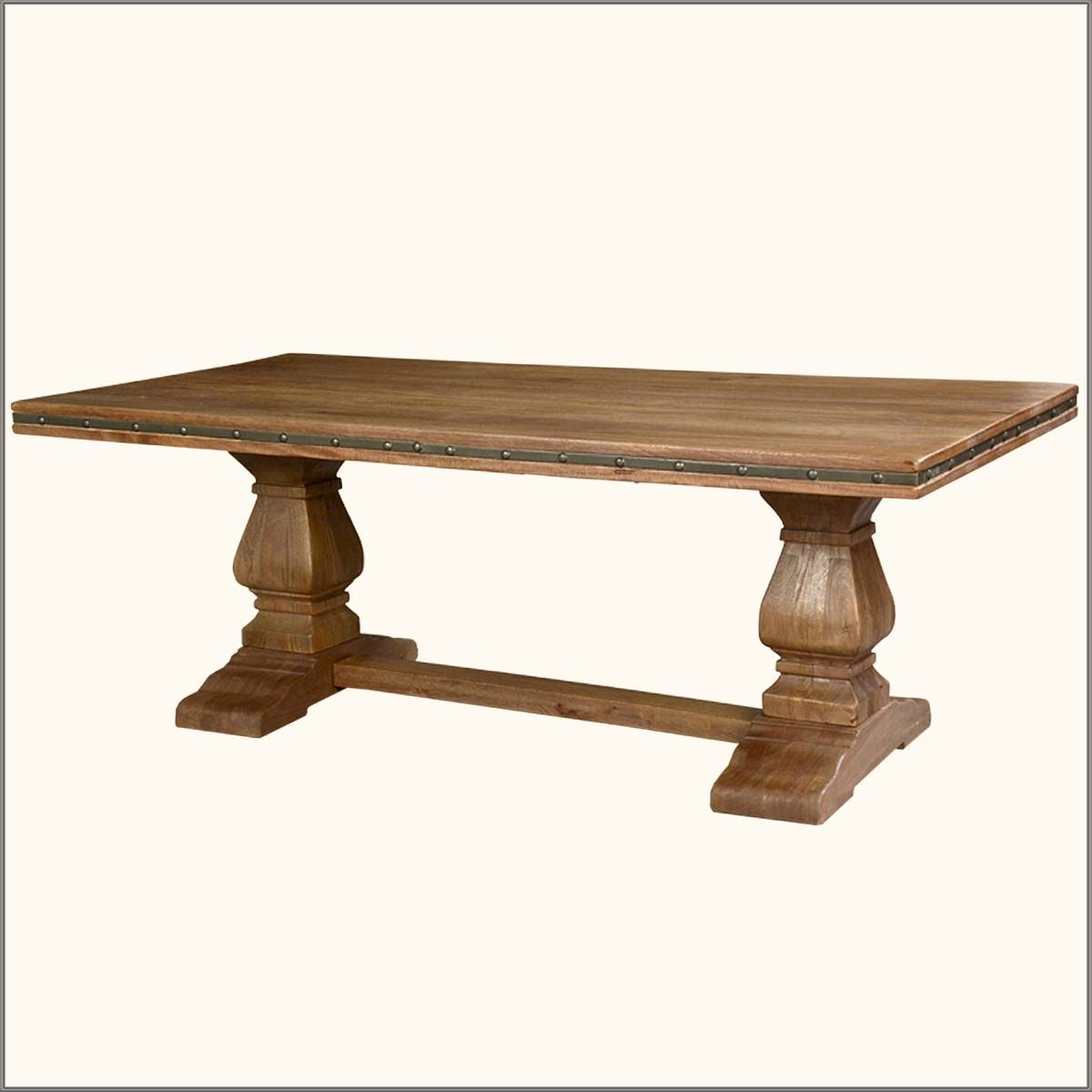 Wood Trestle Base | ... Tables Rustic Solid Wood Trestle Pedestal Base  Harvest Dining Table