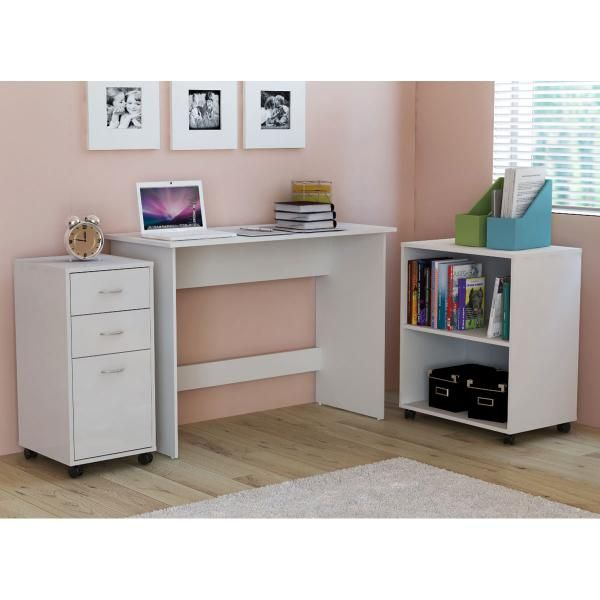 3 Piece Office In A Box White Home Desk Drawers