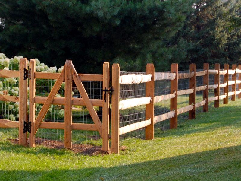 Three Rail Split Rail W Wire Mesh Fence Around Pool Backyard