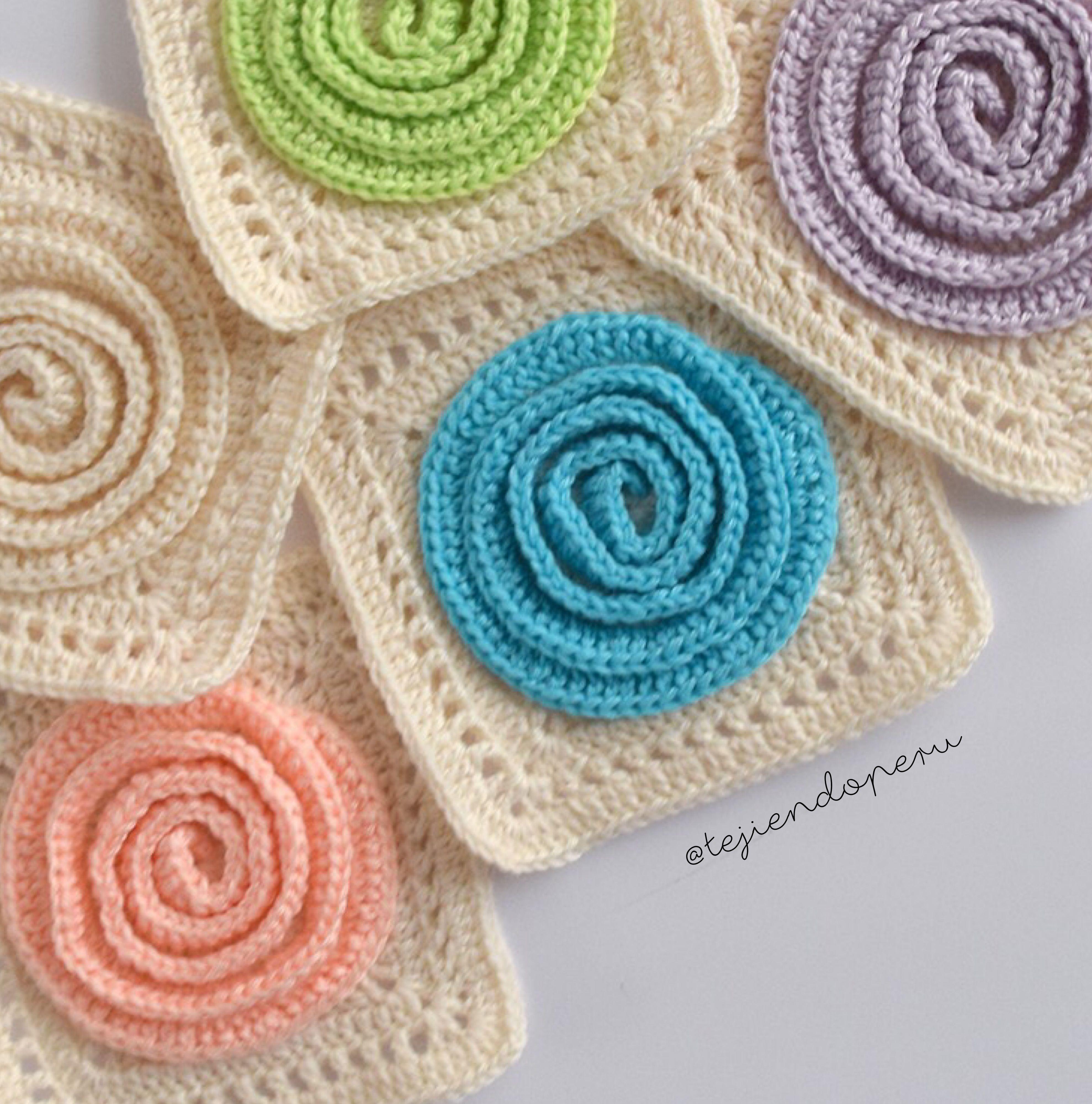 Granny o cuadrado Rosetta tejido a crochet paso a paso en vídeo ...