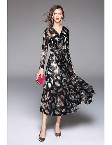 78bb63694d 49.99  Mulheres Moda de Rua Bainha   balanço Vestido - Estampado ...