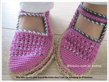 Espadrilles Ballerina with Strap - all sizes - crochet pattern - 2in1 E-Book