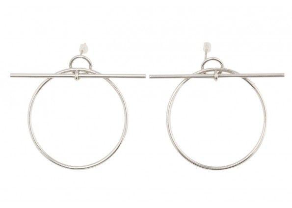 Hermes 18k White Gold Loop Hoop Earrings