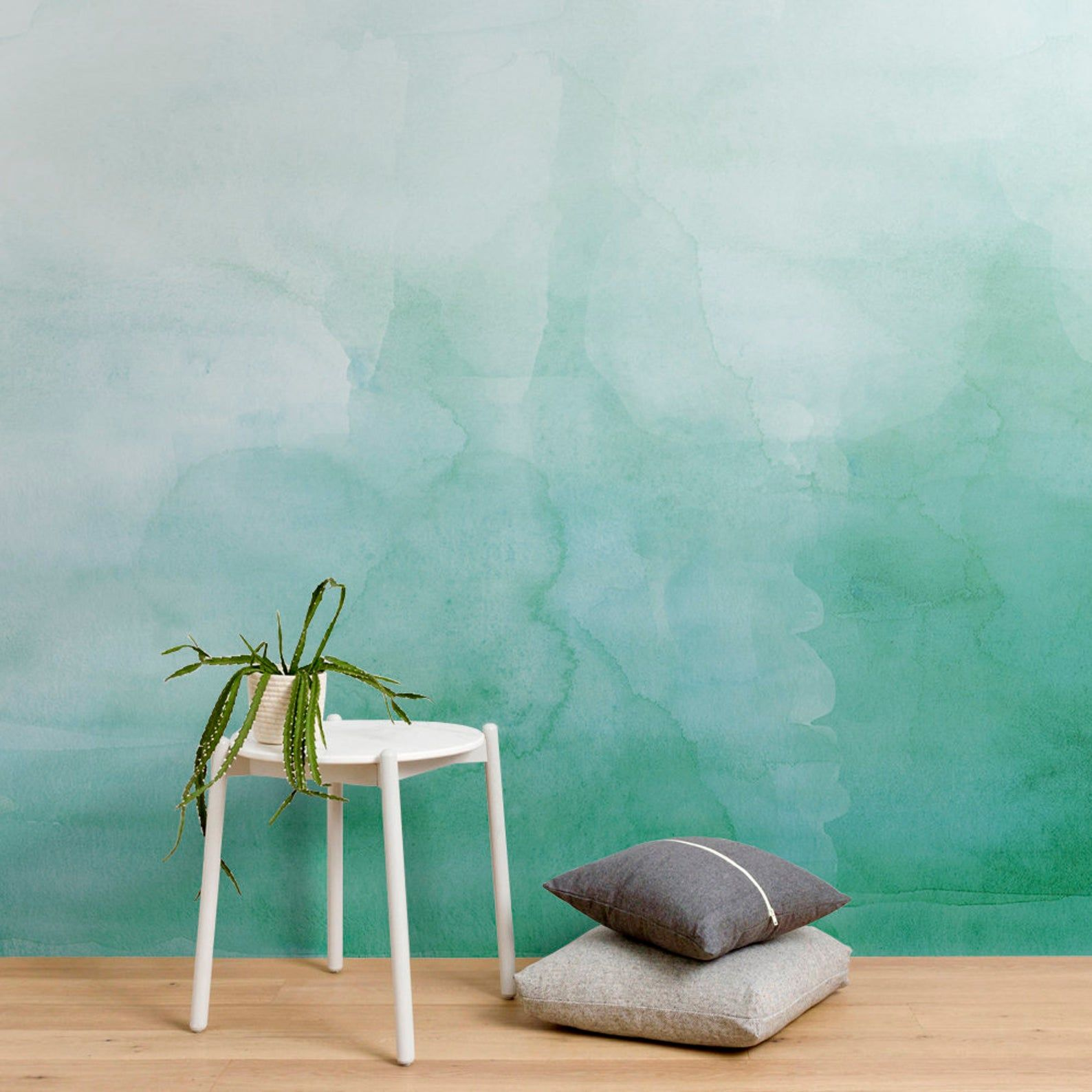 Green Ombre Watercolor Wallpaper Luxury Removable Peel