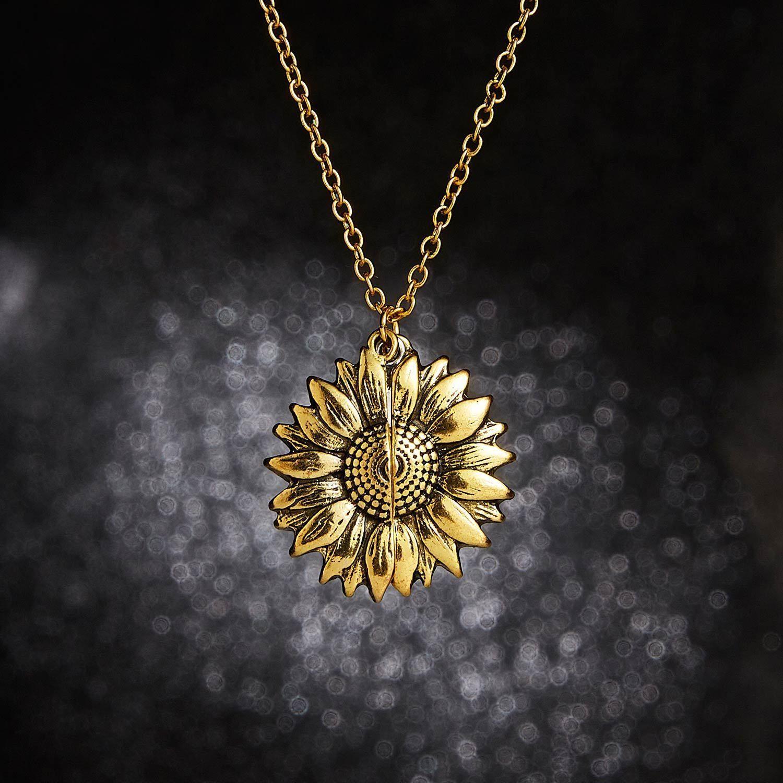 Spring Is Here Inspired Open Sunflower Pendant Necklace In 14k Gold In 2021 Sunflower Pendant Sunshine Necklace Sunflower Necklace