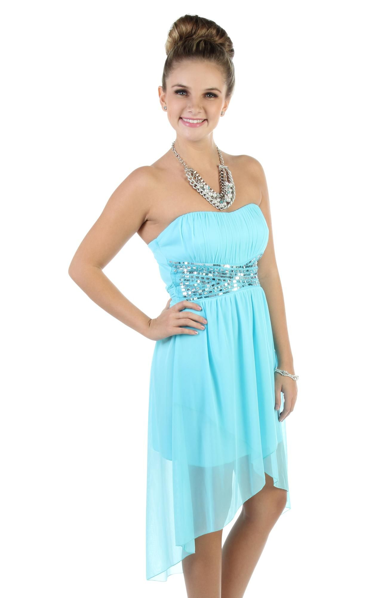 strapless sequin bodice tulip party dress with short high low skirt ...