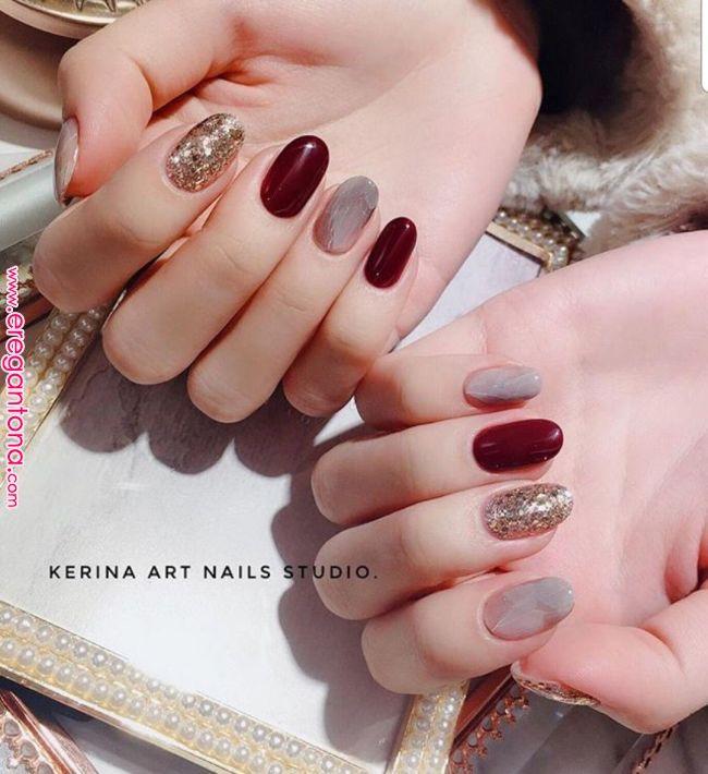 Burgundy Taupe Beige Gold Glitter Nails In 2019 Pinterest Nails Nail Designs And Nail Art Burgun Gold Glitter Nails Trendy Nails Glitter Manicure