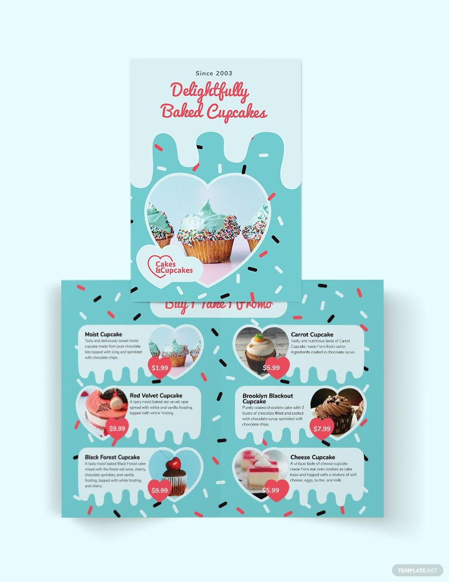 Cupcake Bakery Bi Fold Brochure Template Ad Ad Bi Bakery Cupcake Template Brochure In 2020 Bi Fold Brochure Brochure Design Trifold Brochure Template
