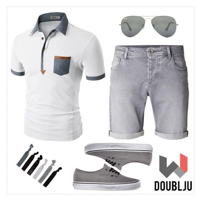 """Doublju Mens denim collar pocket highlight short sleeves polo shirts"" by doublju-company ❤ liked on Polyvore"