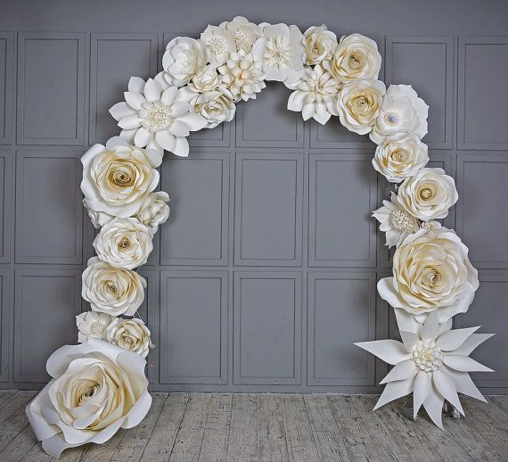 Wedding arch paper flowers wedding venue decoration white paper this gorgeous wedding arch of the large paper flowers impress even experienced wedding this gorgeous wedding arch of the large paper flowers impress even mightylinksfo