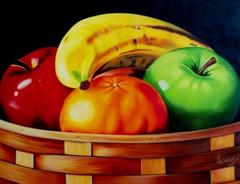 Dibujo Descriptivo Bodegon De Frutas Pintura De Fruta Cuadros De Frutas