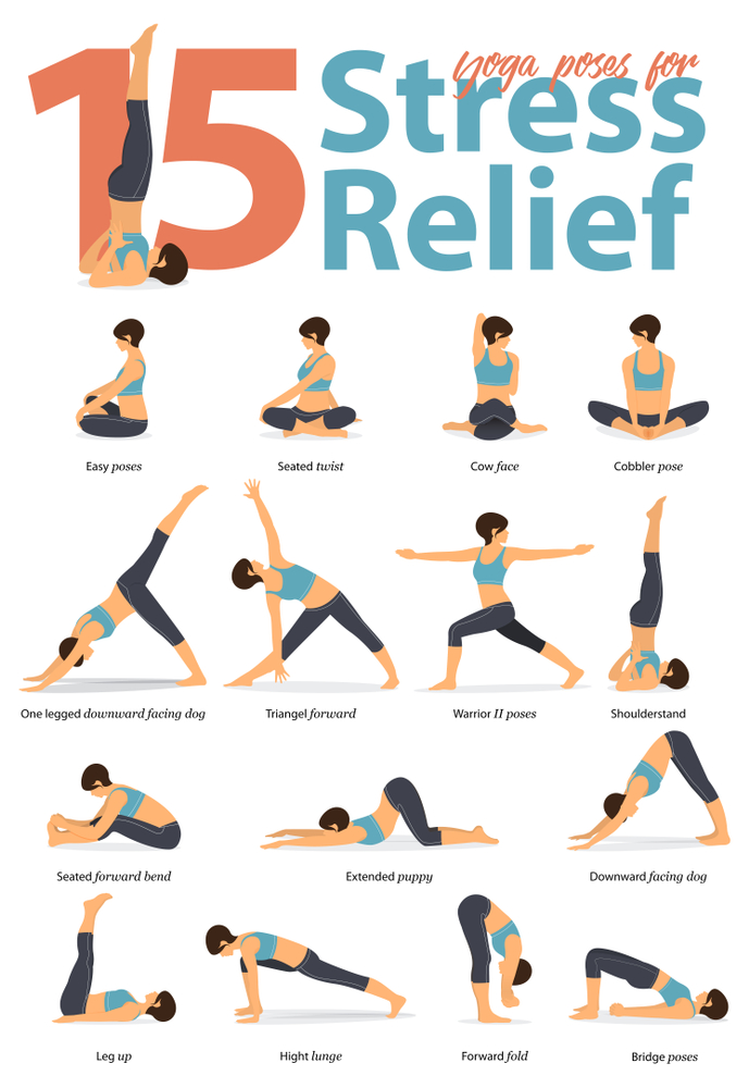 15 Yoga Poses For Stress Beginner Yoga Workout Easy Yoga Workouts Relaxing Yoga