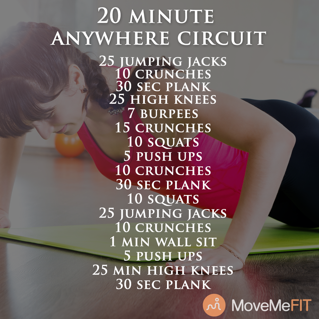 This 20 minute circuit is easy to do just about anywhere! No equipment needed, and we know you can carve out 20 minutes today, so you've got no excuses!