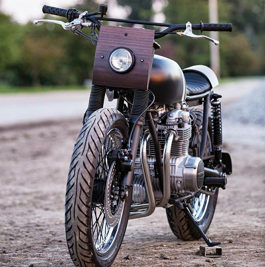 The Monnom Customs M3 Honda CB550 Flat Tracker With A Custom Hand Made Eculypustis Wood Front Plate