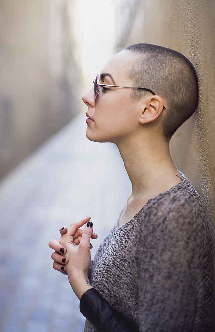 Female short haircut shaved head