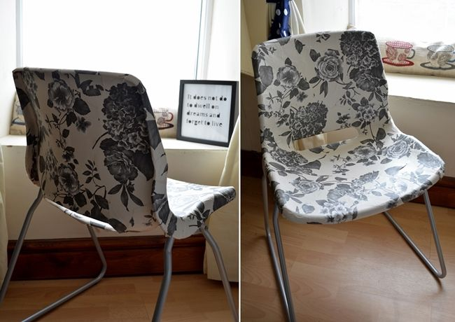 snille chair decoupage mod podge wallpaper fun easy diy
