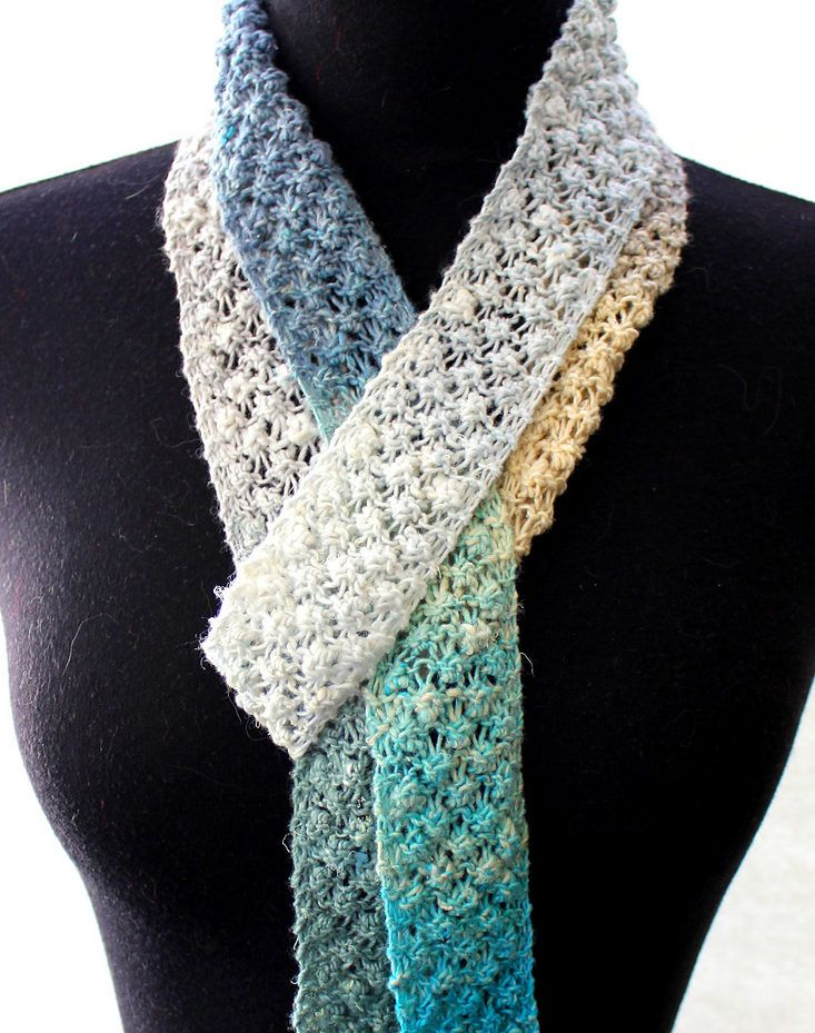 Free Knitting Pattern For 4 Row Repeat Summer Scarf This Easy