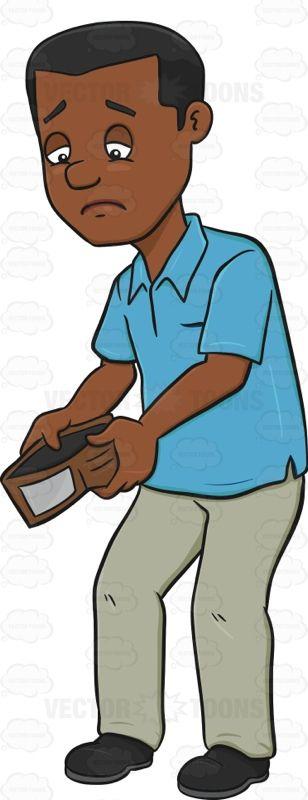 Bankrupt Man Looking Sad At Wallet   Vector clipart, Sad ...