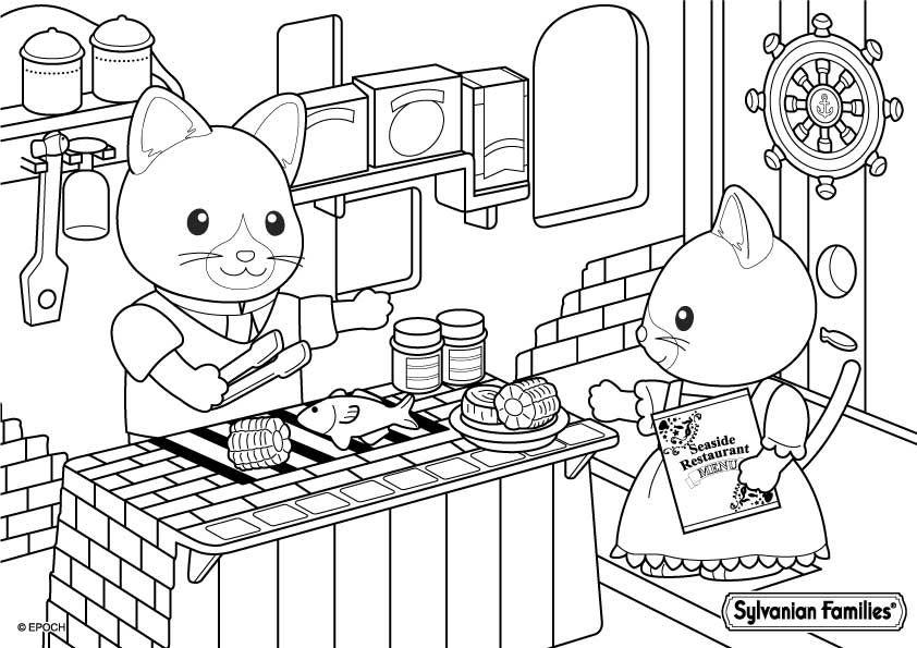 restaurant de bord de mer  family coloring pages hello