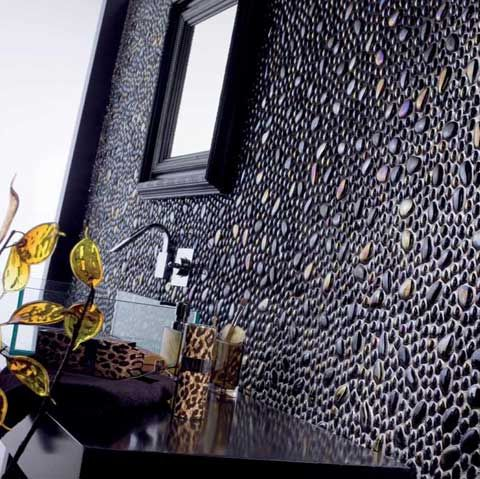 Mosaïque ronde 17 - 19 cm et 3 - 4 cm céramique coloris noir