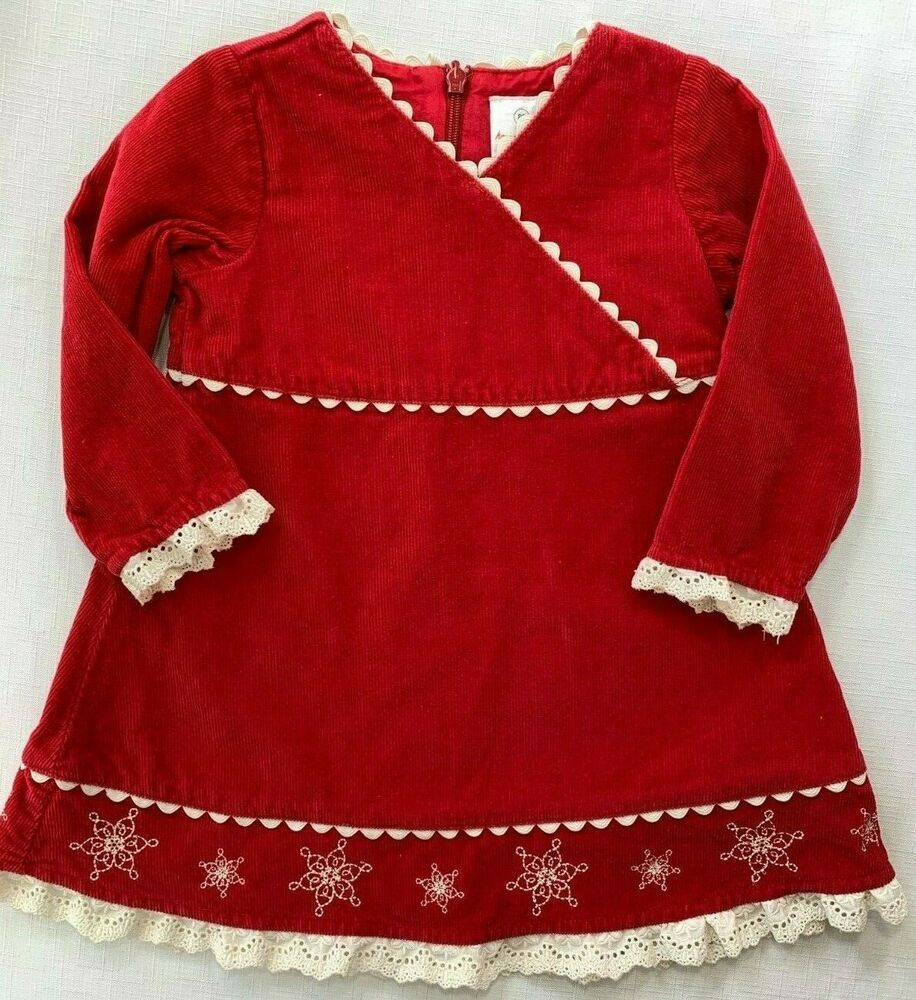 Hanna Andersson Girls 18-24 Months Red Corduroy Holiday Snowflake Dress 80 cm #HannaAndersson #RedCorduroy #ChristmasDress #HolidayOutfit #Snowflakes