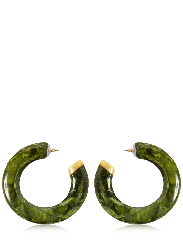 Cult Gaia Kennedy Malachite Large Flat Hoop Earrings rCoDT7