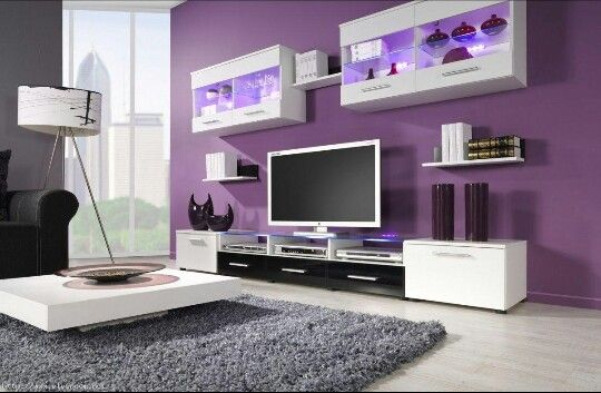 Purple and black living room Cinza Pinterest Living rooms