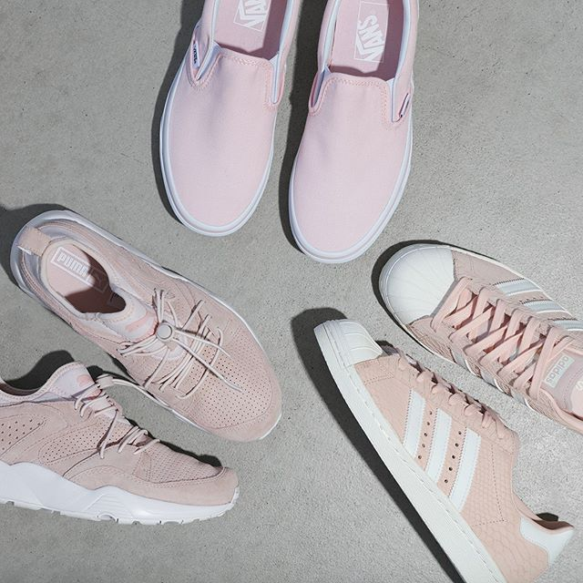 be404e9a5c4 TRIPLE PINK! Ballerina Vans Classic Slip-On Pink Puma Blaze Of Glory Soft  WM s Blush pink Adidas Superstar 80s W All available now!