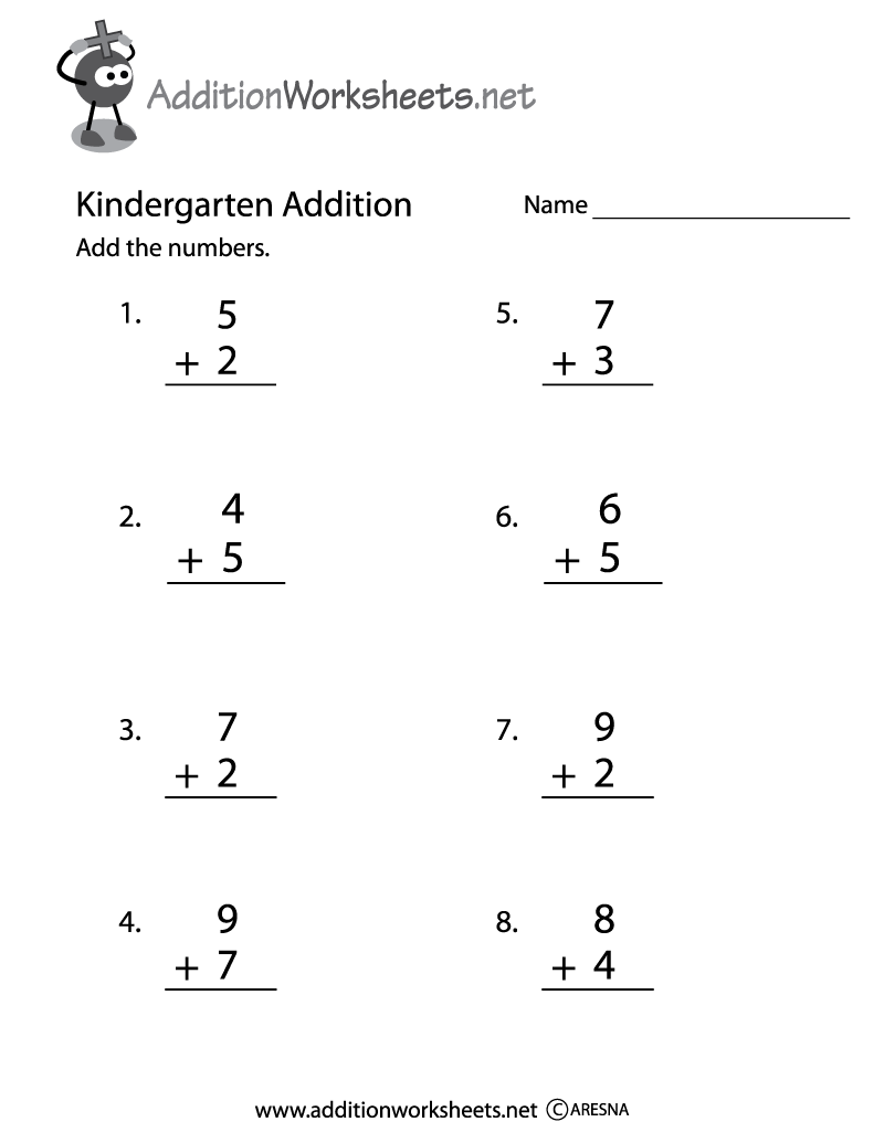 Kindergarten Addition Practice Worksheet Printable – Basic Addition Worksheets for Kindergarten
