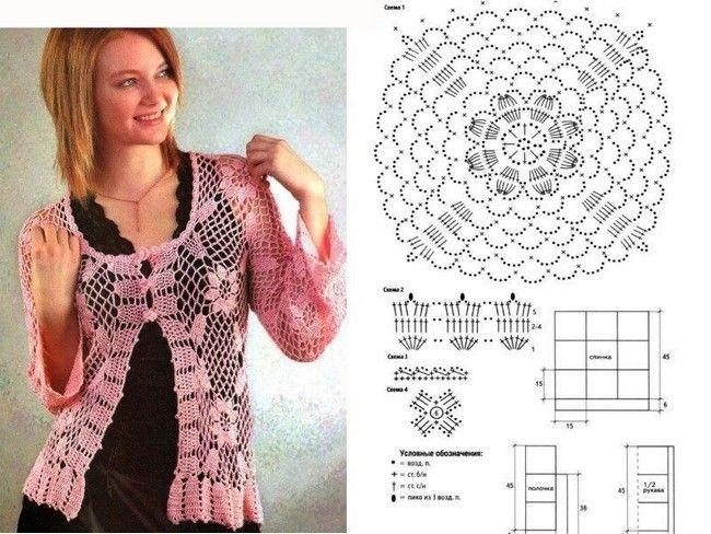 GRAFICOS PARA ELABORAR BLUSAS EN CROCHET Preciosas blusas en crochet ...