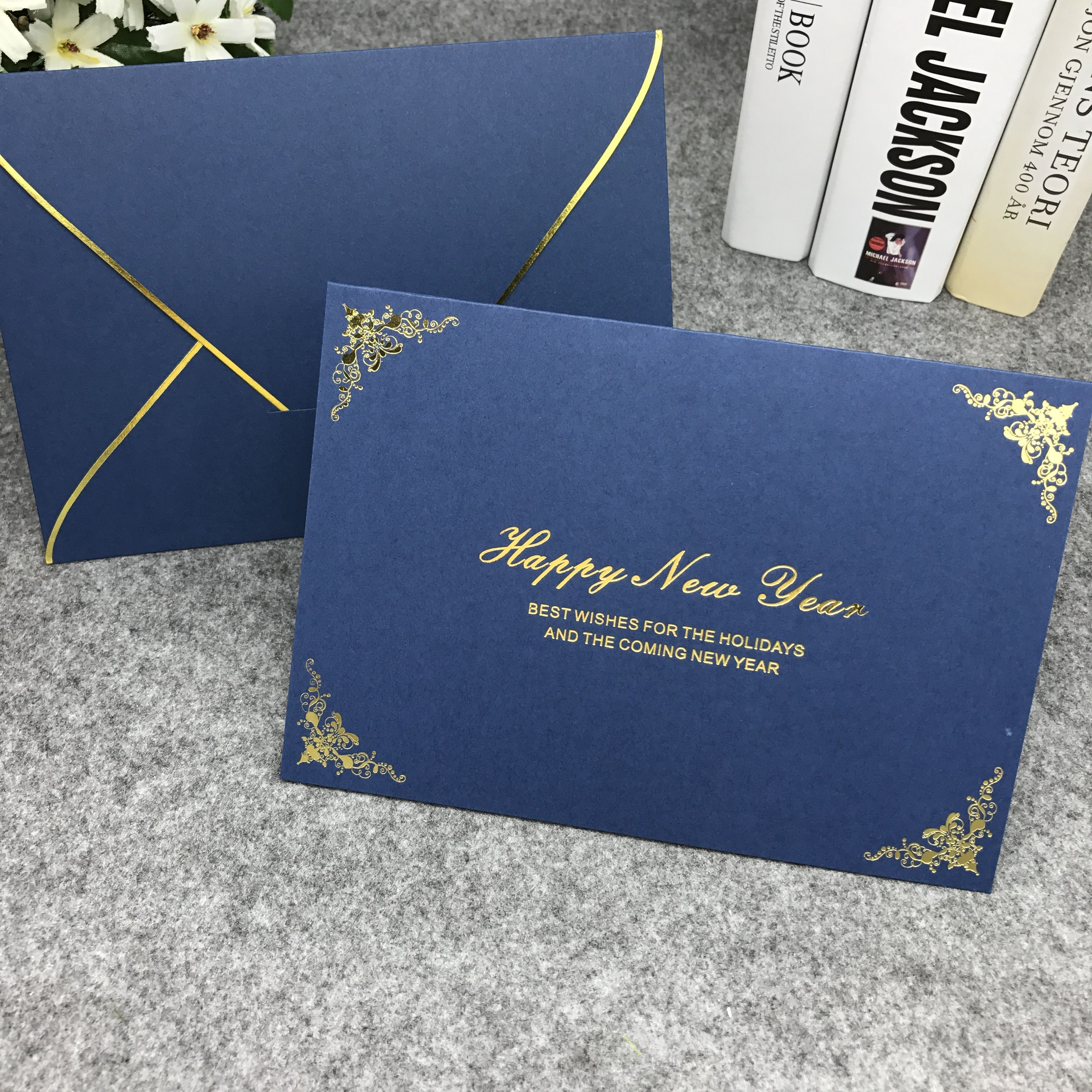 2017 new new year greeting cards business thanks 3 color cards