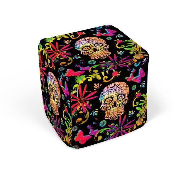 Sugar Skull Pouf Ottoman Cube Footstool Day Of The Dead ($79) ❤ Liked On  Polyvore Featuring Home, Furniture, Ottomans, Chairs U0026 Ottomans, Dark  Olive, ...