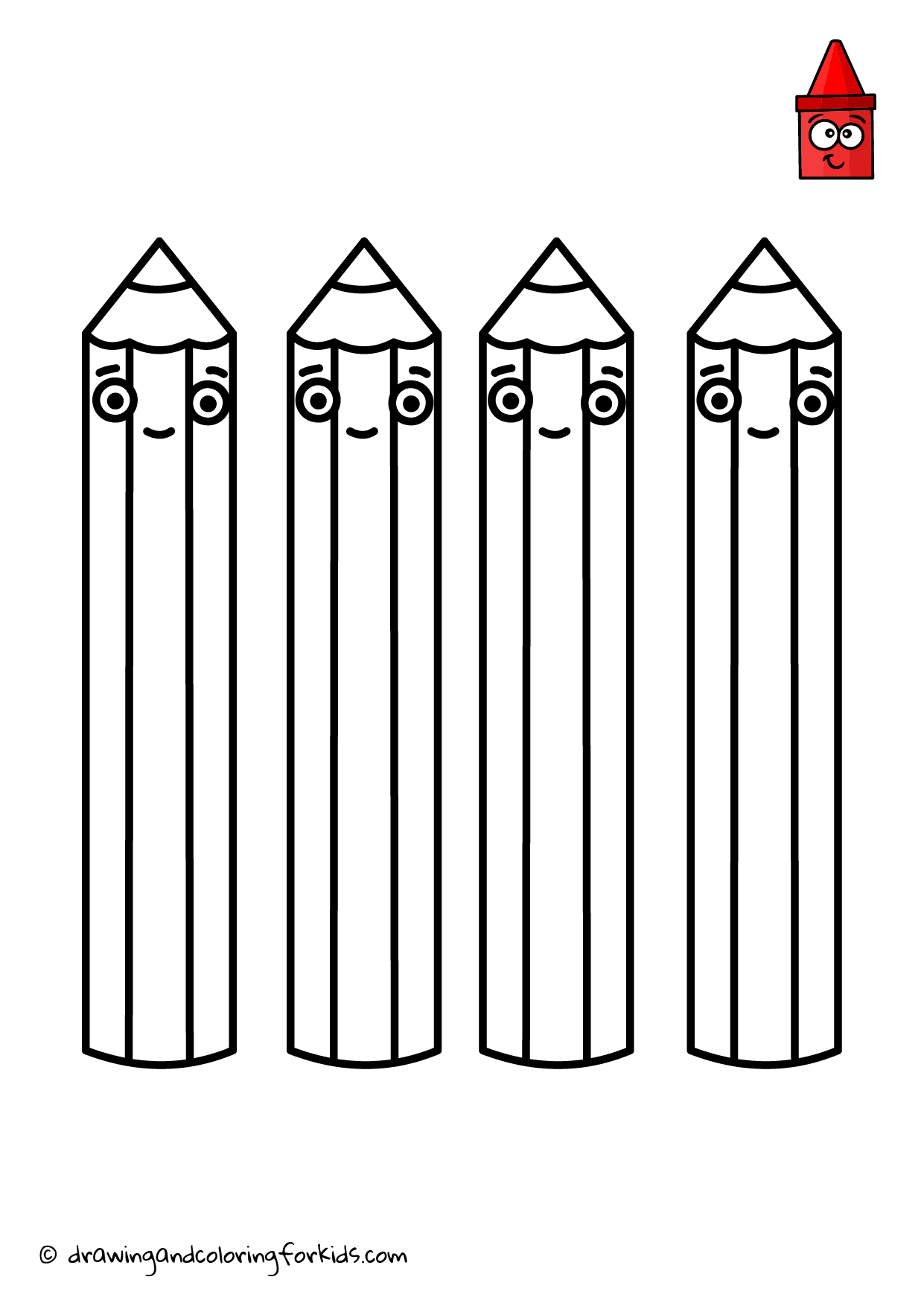 Drawing Crayon Pencils Coloring Pages Colorful Crayons Drawing And Coloring For Kids