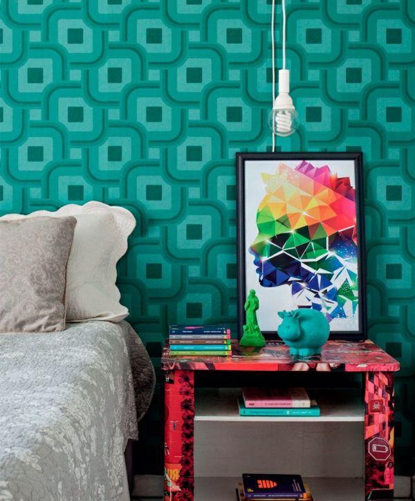 grüne tapete schlafzimmer wandgestaltung Wandgestaltung - küche farben ideen