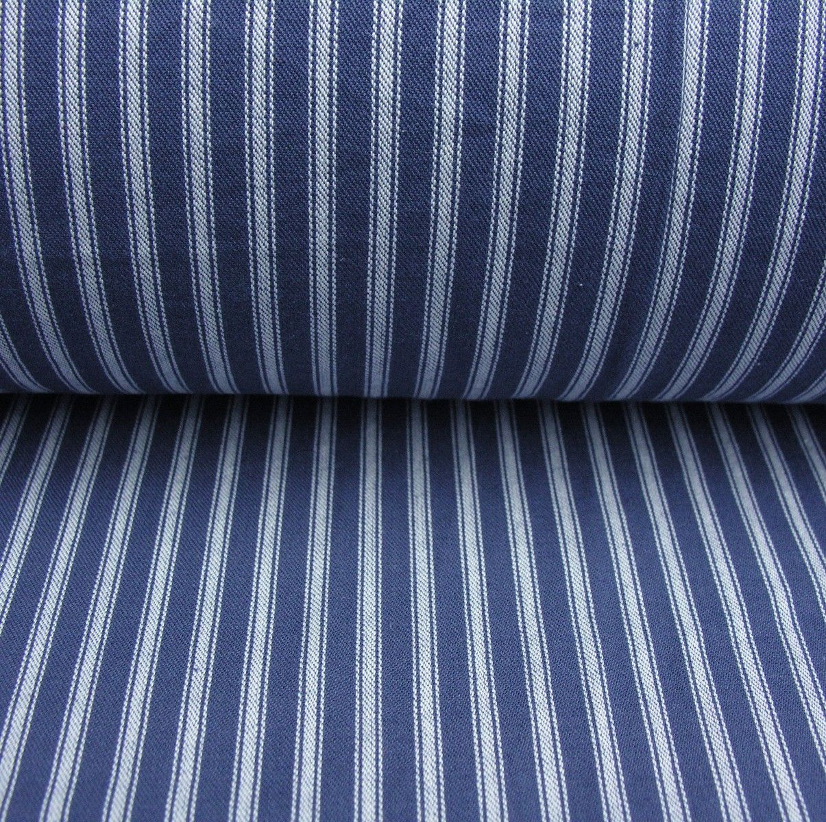 Ticking Fabric Reverse Cobalt Ticking Fabric House By