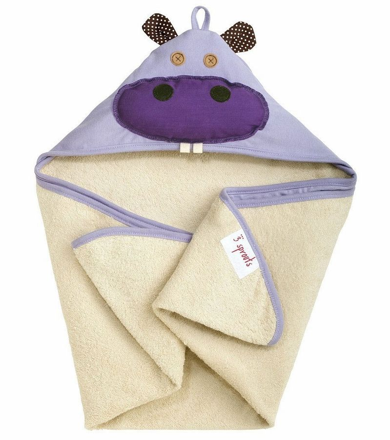 3 Sprouts Hooded Towel Hippo Purple Toallas Con Capucha