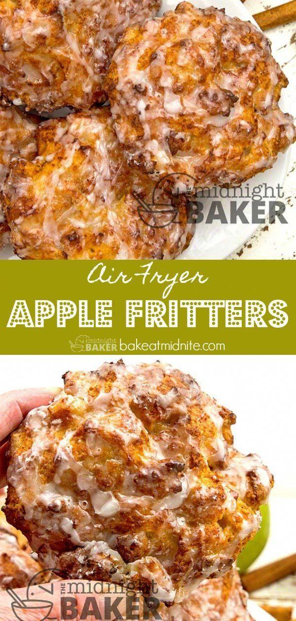 Air Fryer Apple Fritters - The Midnight Baker -   18 air fryer recipes easy dessert ideas